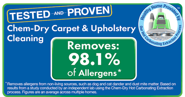 Chem-Dry removes allergens from carpet and upholstery and airborne bacteria from air